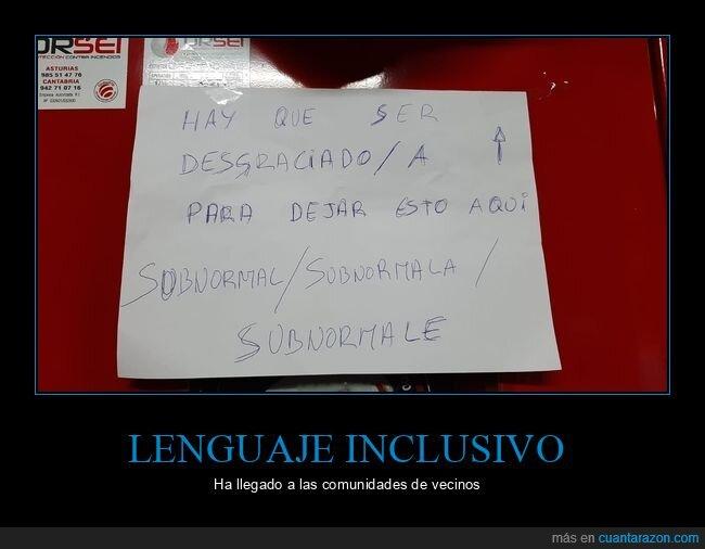 carteles,lenguaje inclusivo,vecinos