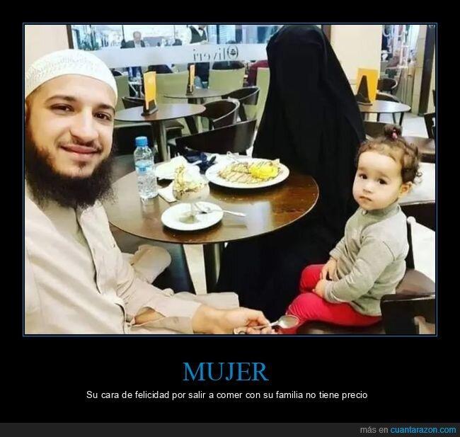 burka,cara,comer,familia,felicidad,salir