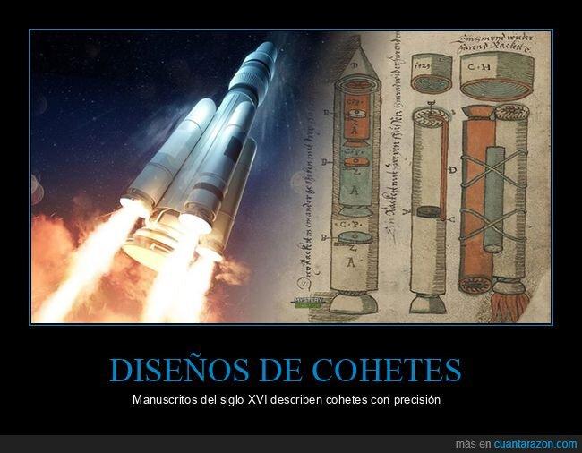 cohetes,manuscritos,siglo XVI
