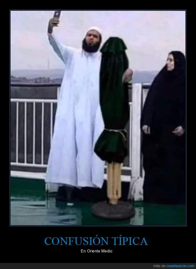 mujer,musulmanes,selfie,sombrilla