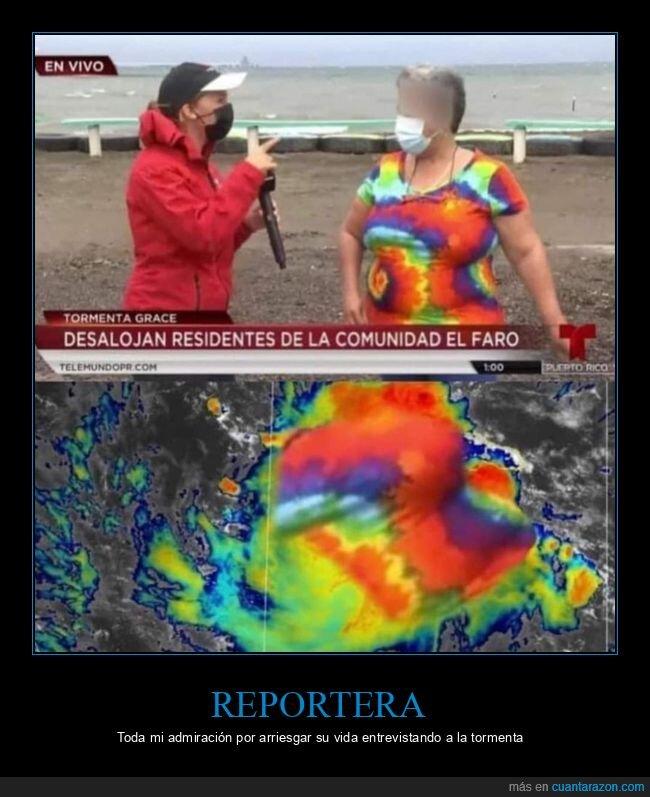entrevistar,reportera,tormenta