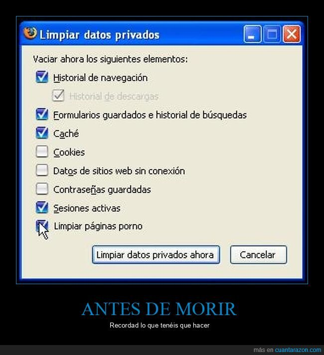 datos,limpiar,morir,páginas,privados