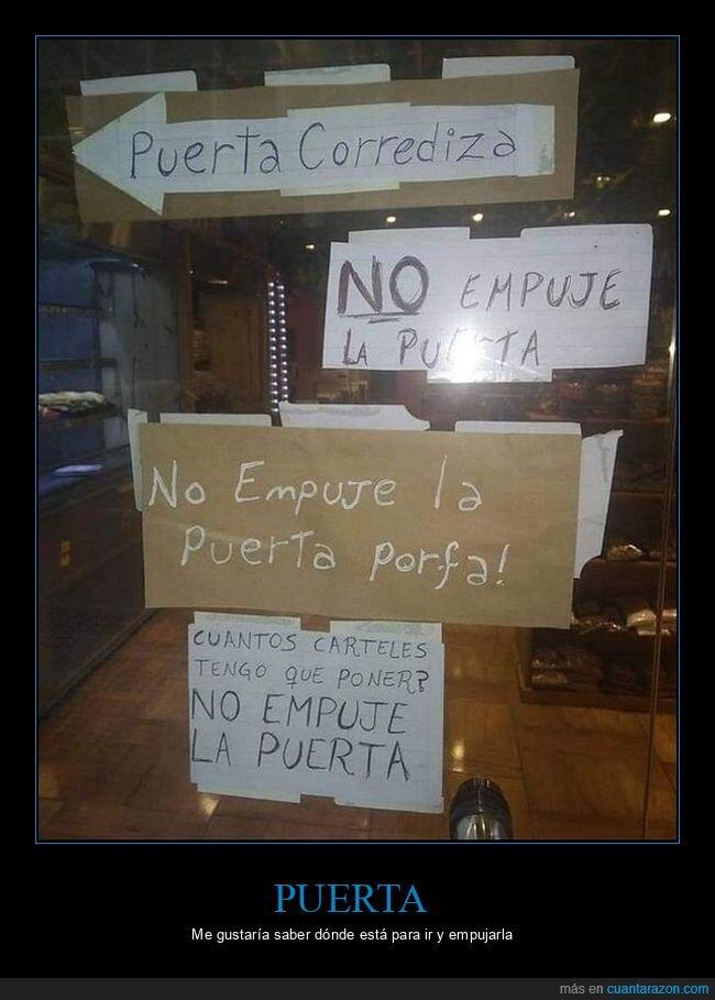 carteles,empujar,puerta