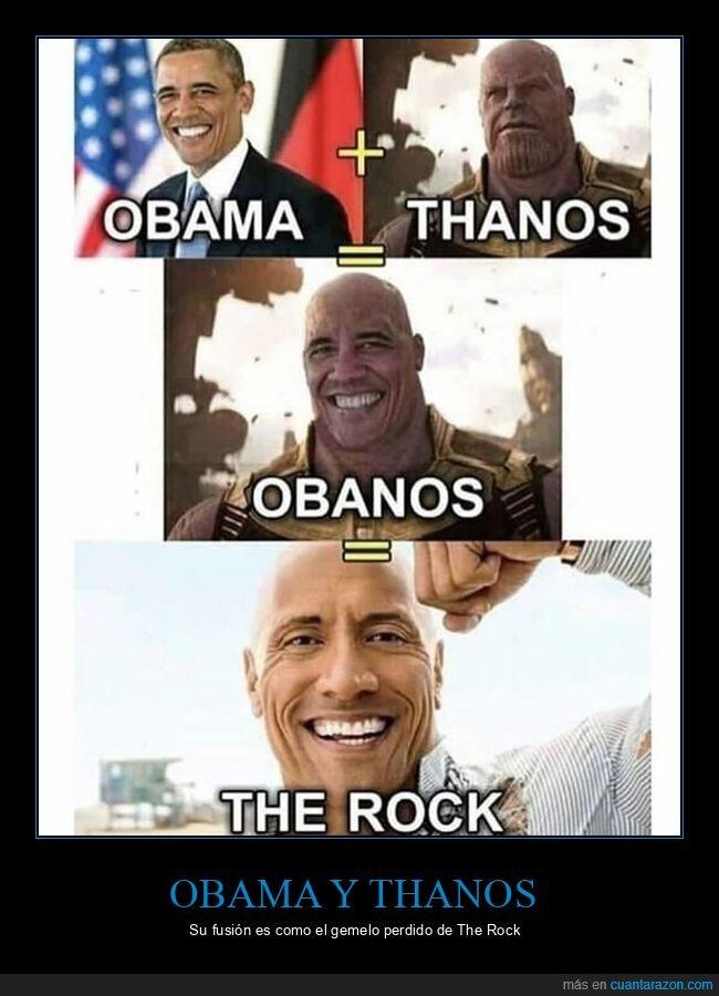 obama,parecidos,thanos,the rock