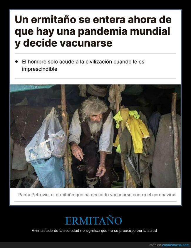 enterarse,ermitaño,pandemia,vacunarse