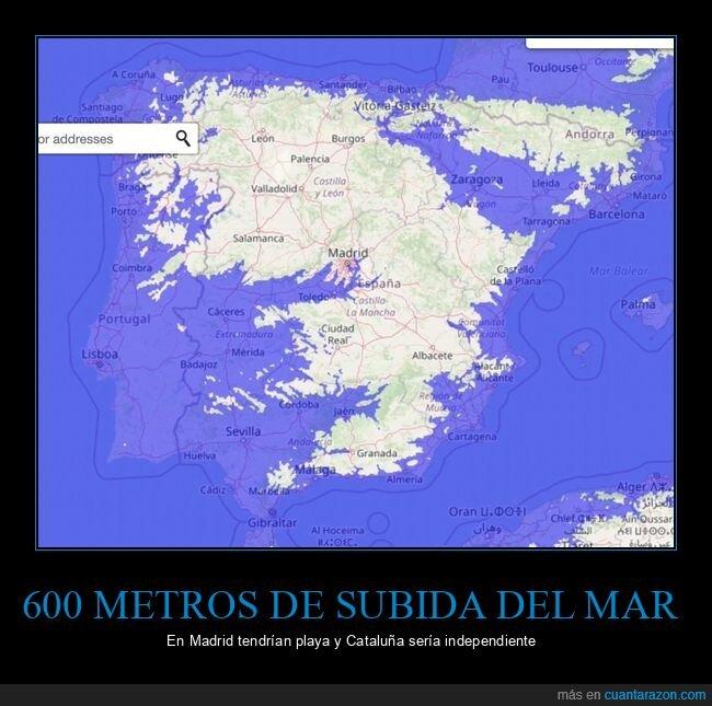 600 metros,cataluña,independencia,madrid,nivel del mar,playa,subida