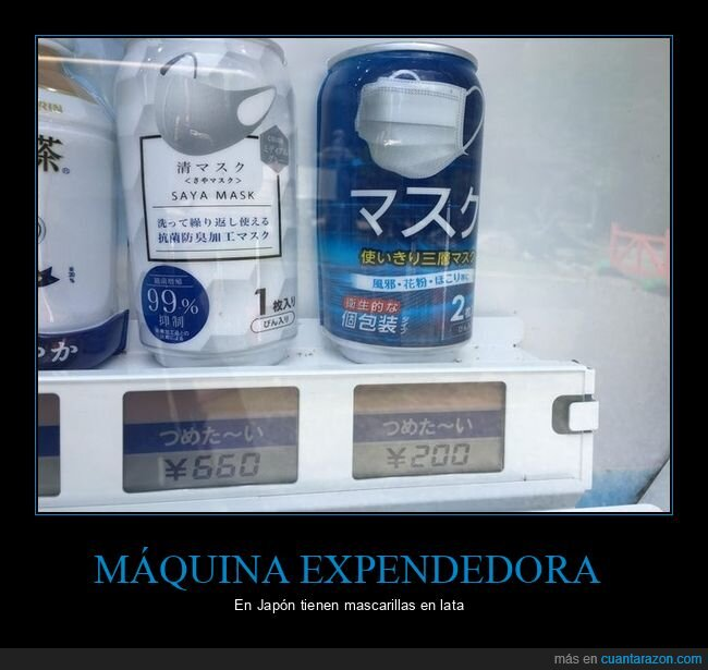 japón,latas,máquina expendedora,mascarillas