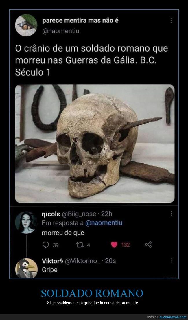 cráneo,gripe,muerte,romano,soldado