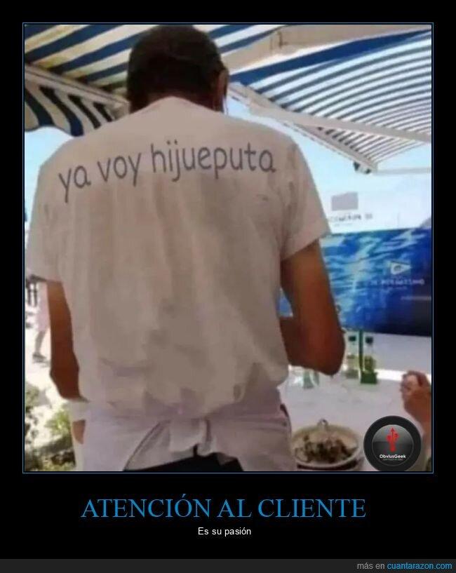 atención al cliente,camarero,camiseta