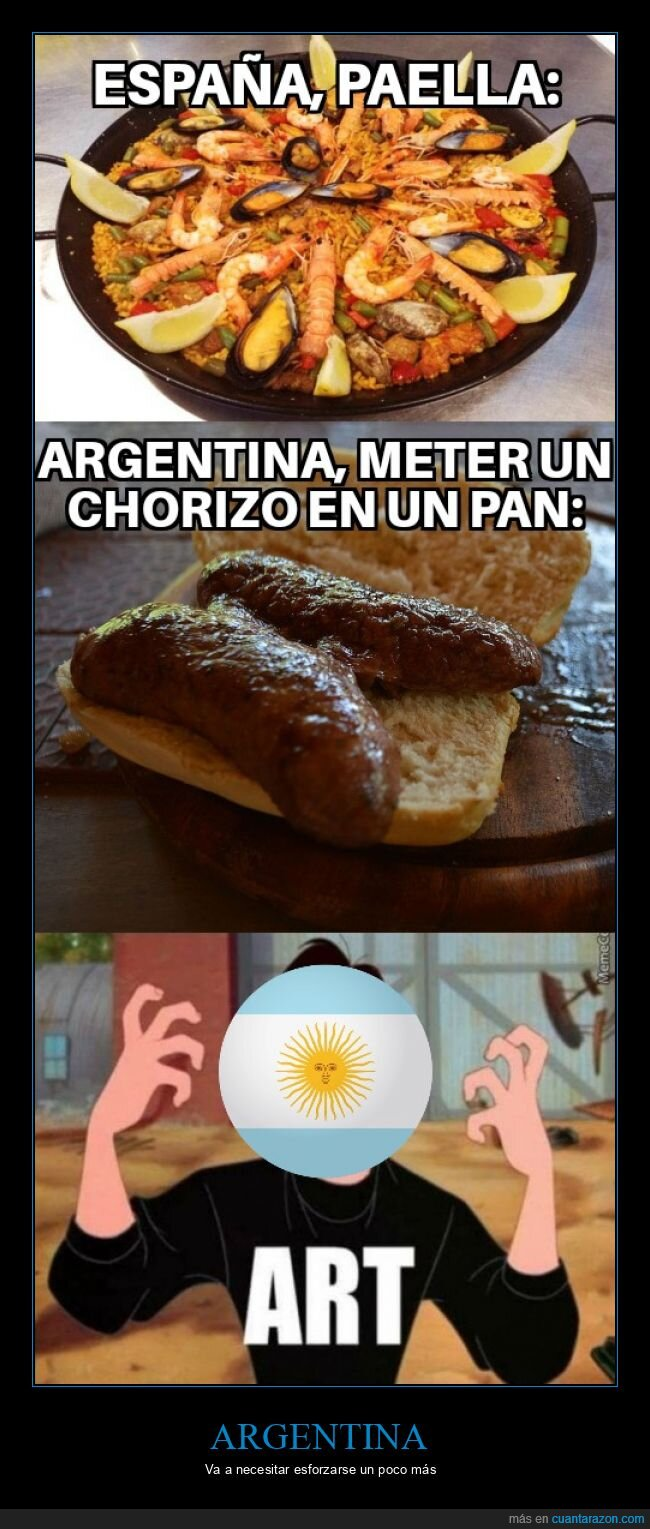 argentina,choripán,españa,paella