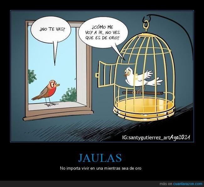 jaula,oro,pájaros