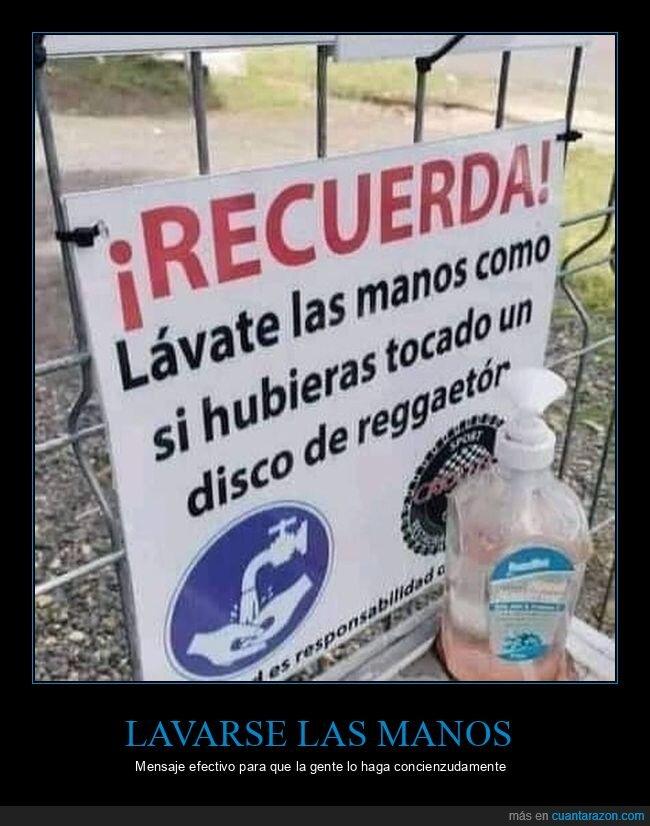 disco,lavarse las manos,reggaetón,tocar