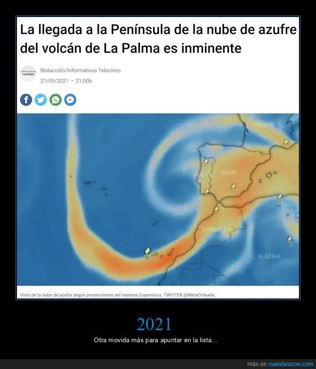 azufre,la palma,nube,península,volcán