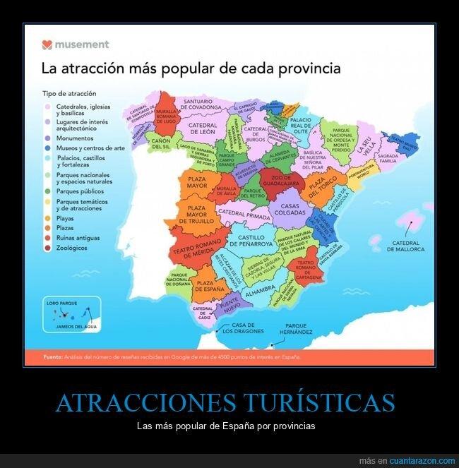 atracciones turísticas,curiosidades,españa,provincias