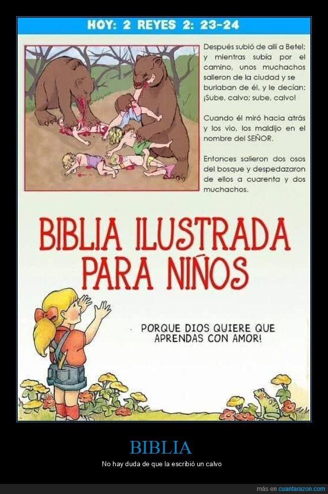 biblia,burlarse,calvo,niños,osos