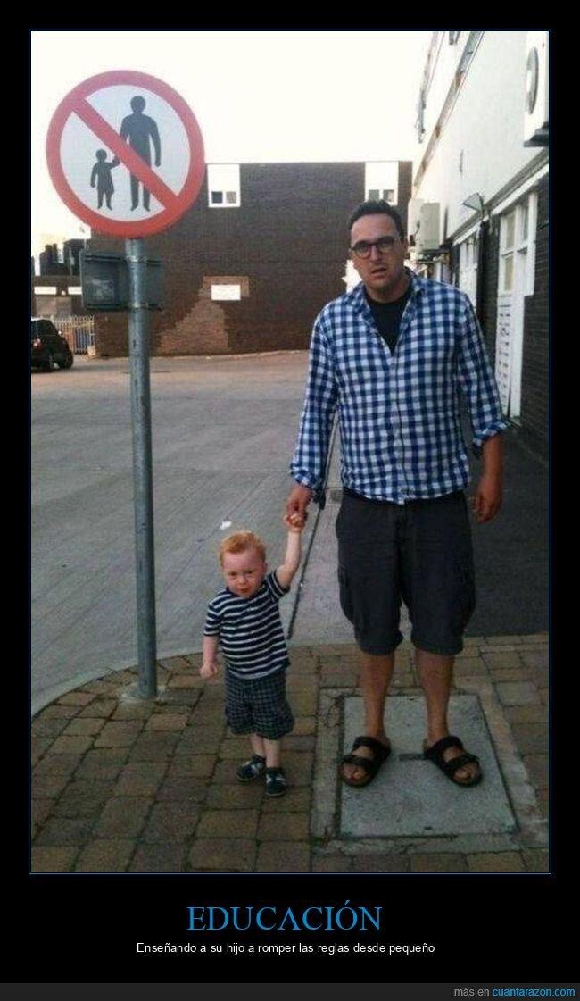 hijo,padre,prohibición,señal