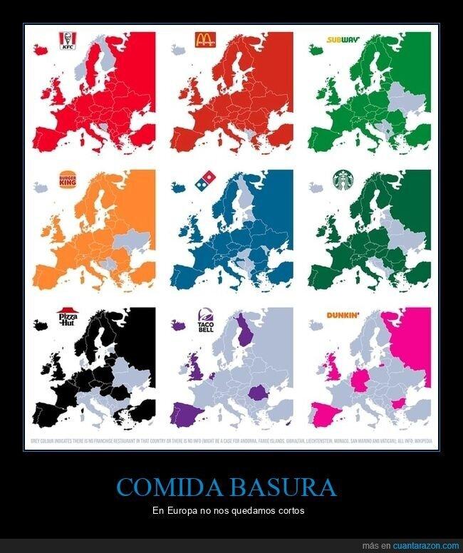 comida rápida,europa,mapa,países