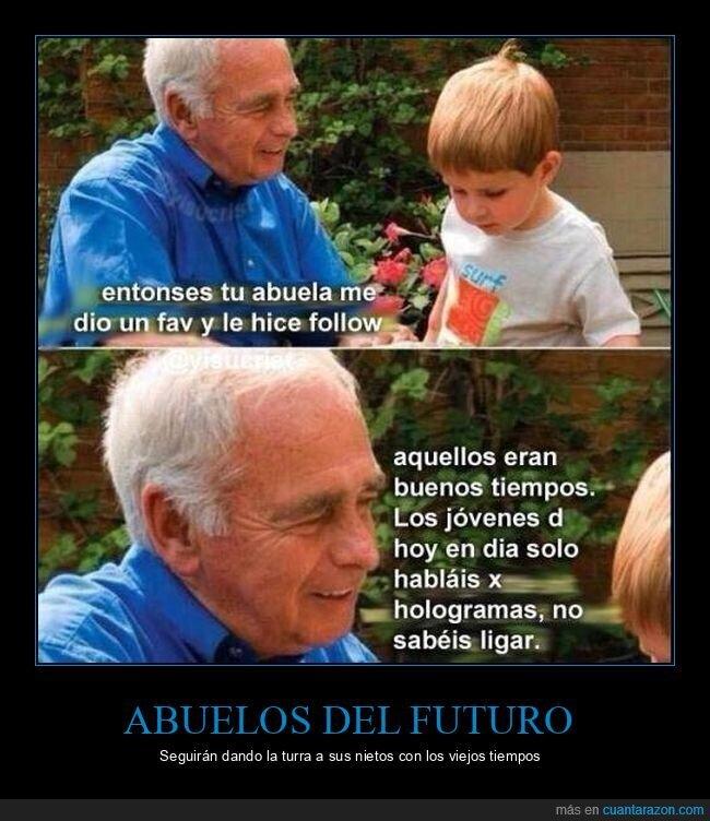 abuelo,jóvenes,ligar,nieto