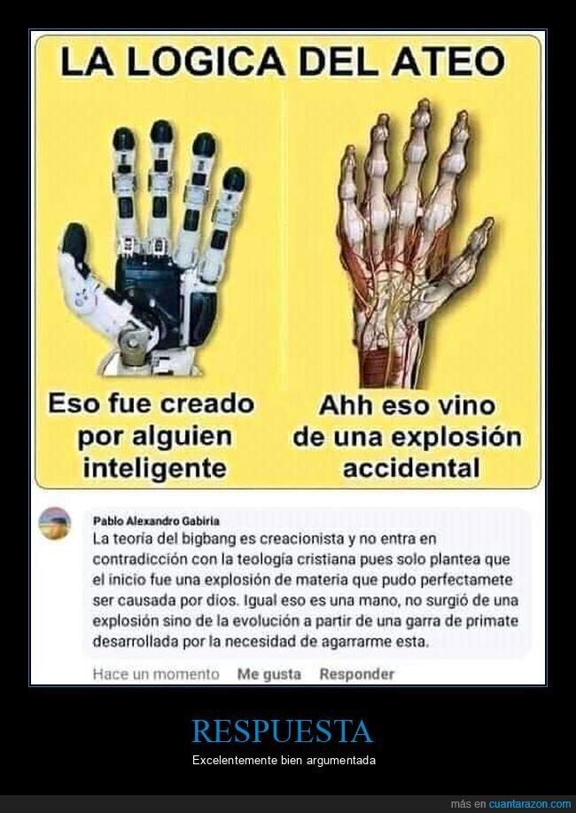 ateo,big bang,evolución,mano