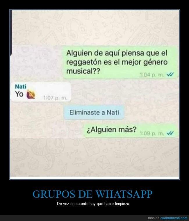 eliminar,género musical,grupo de whatsapp,reggaetón