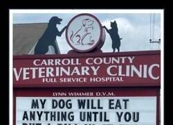 Enlace a Divertidos carteles frente a una clínica veterinaria que te harán sonreír