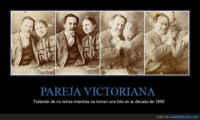 foto,pareja victoriana,reírse