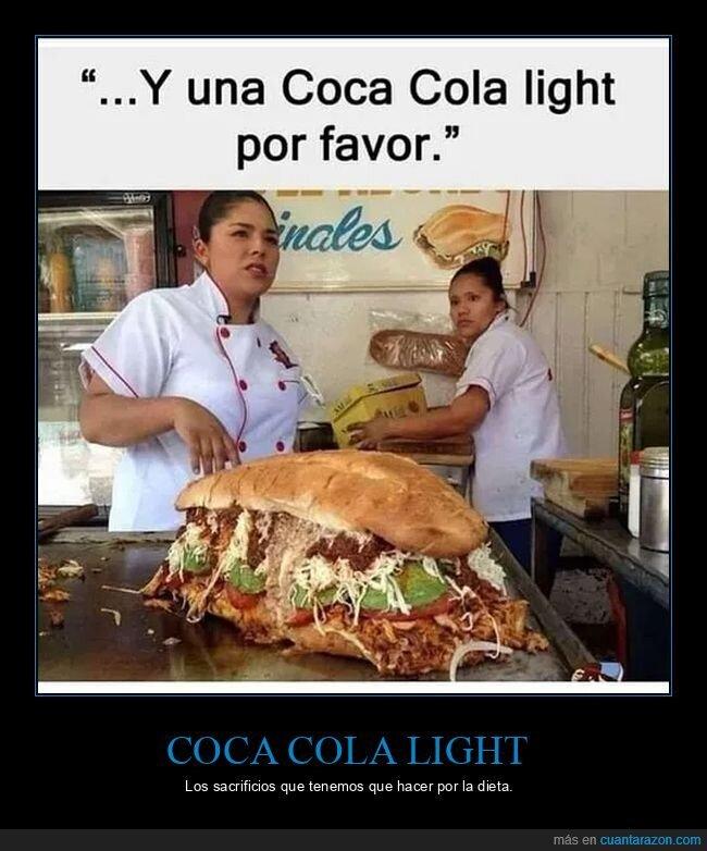 bocadillo,coca cola light,dieta,gigante