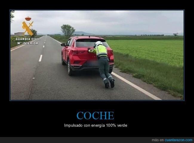 coche,empujando,guardia civil
