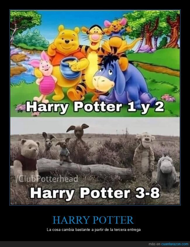 antes,despues,harry potter,winnie the pooh