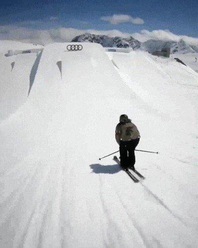 Un salto de esquí realmente impresionante