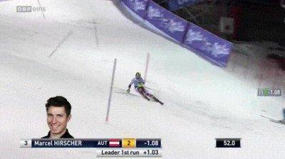 Esquiador haciendo slaloms cuando casi es aplastado por un dron