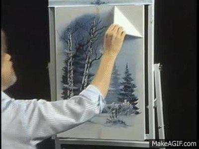 Enlace a El toque final de Bob Ross en sus obras de arte