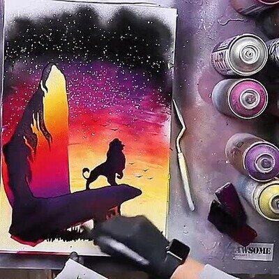 Enlace a Este dibujo con spray de El Rey León es simplemente alucinante