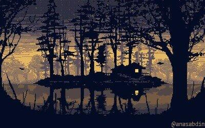 Enlace a Un relajante paisaje píxel art