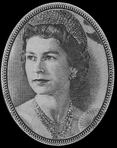 Enlace a La reina Isabel II de Inglaterra tal como aparece en billetes durante la historia