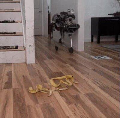 caída,plátano,robot,trampa