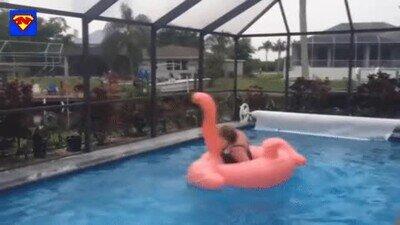 Enlace a Cuando intentas subir a ese flotador de la piscina pero sale mal
