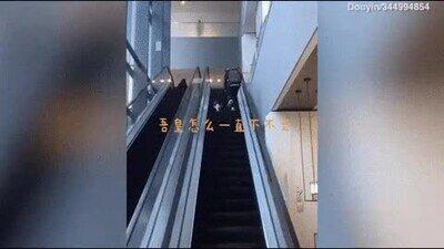 Un gato pasándolo bien en unas escaleras mecánicas