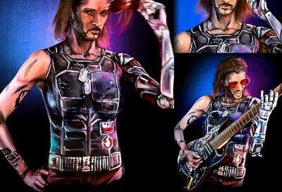 Enlace a Un cosplay viviente de Cyberpunk con bodypaint