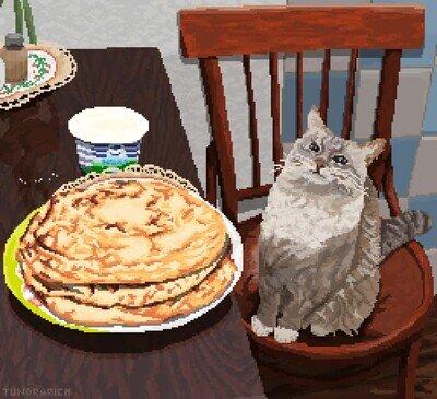 Enlace a Una animación pixelada de un gato mirando tortitas recién cocinadas