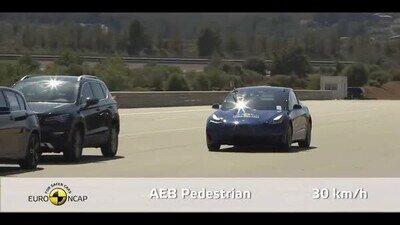 Enlace a Probando el sistema de frenado de Tesla con peatones falsos
