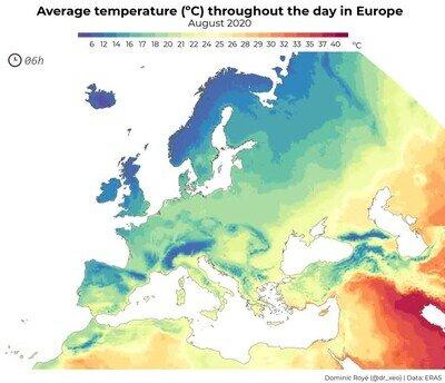 Enlace a La temperatura sobre Europa en un día normal de agosto