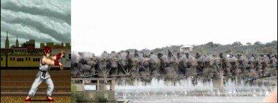 Enlace a Ryu demoliendo un puente con un Hadouken