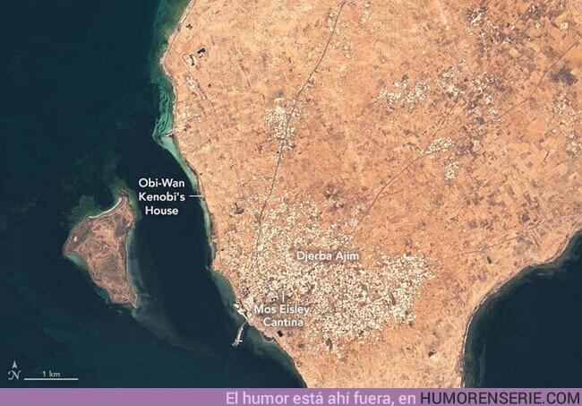 52180 - La #NASA rinde homenaje a #StarWars #UnaNuevaEsperanza con una imagen de satélite de una localización original del rodaje en Túnez