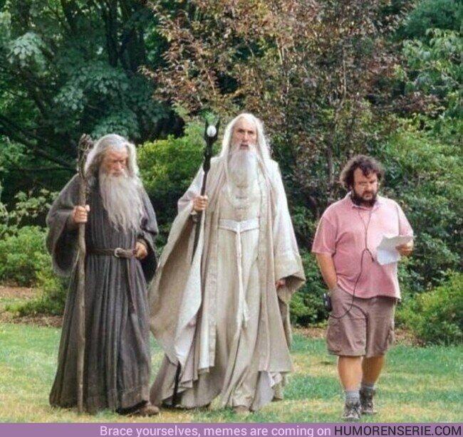 56084 - Peter Jackson, Ian McKellen y Christopher Lee, en el set de