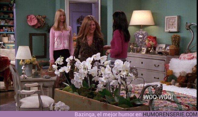 56729 - Gazapo: en esta escena de Friends se puede apreciar como en el cuarto en el que entran las protagonistas se ve el salón desde dentro. ¿Alguien lo ve?