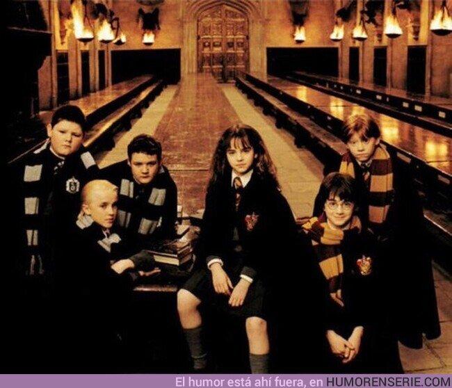 56846 - Imagen muy rara de los estudiantes de Gryffindor y Slytherin posando juntos para una foto
