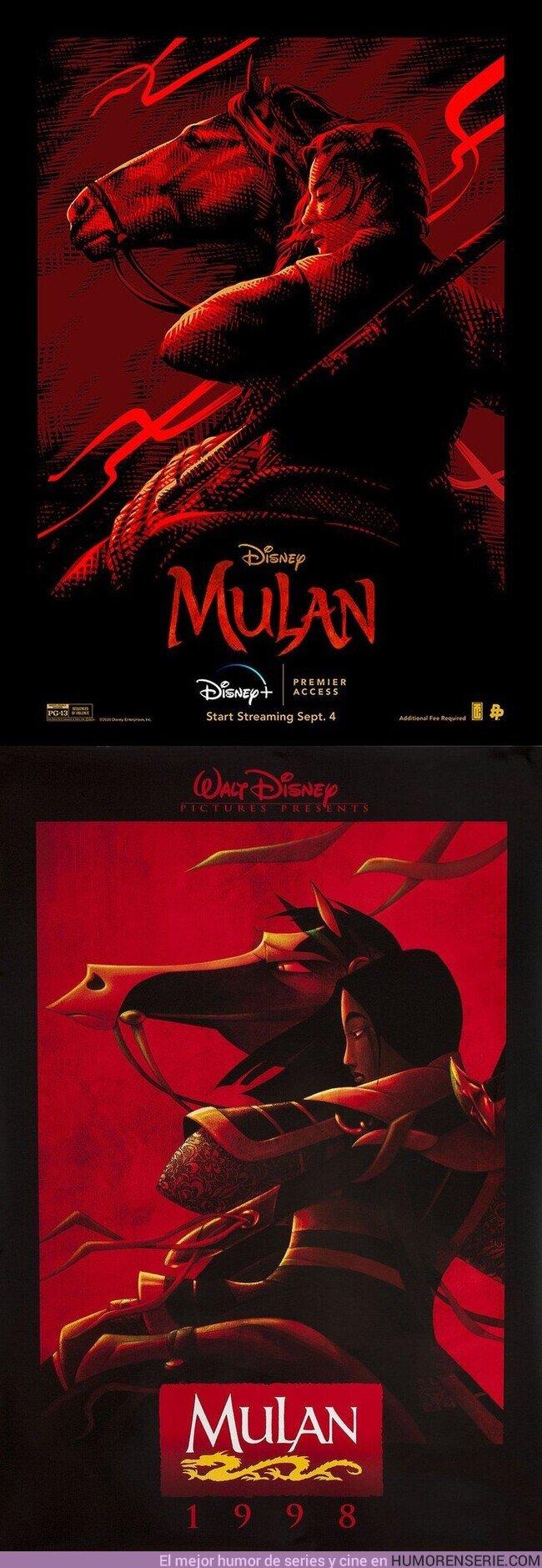 57503 - Nuevo póster del remake de #Mulan que recrea el cartel original para cines de la película de 1998