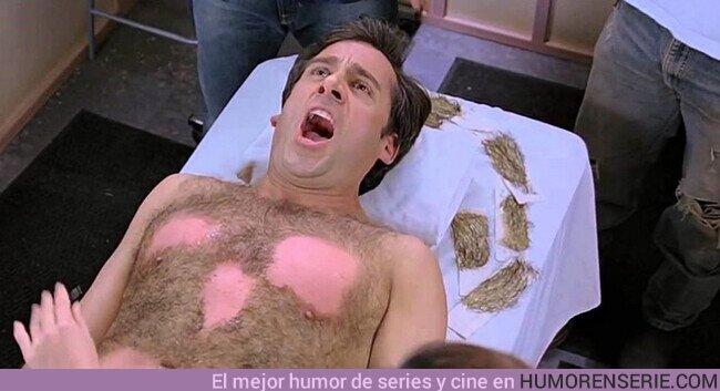 59318 - En la comedia Virgen a los 40 la depilación del pecho de Steve Carrel fue real.