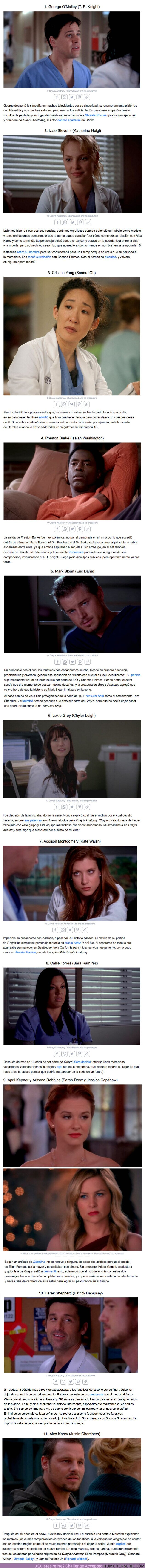 """61863 - GALERÍA: 12 Actores que abandonaron """"Grey's Anatomy"""" y las razones por las cuales lo hicieron"""